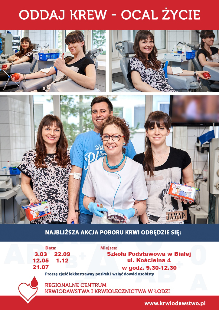 Akcja honorowego oddawania krwi w Szkole Podstawowej w Białej @ Kościelna 4