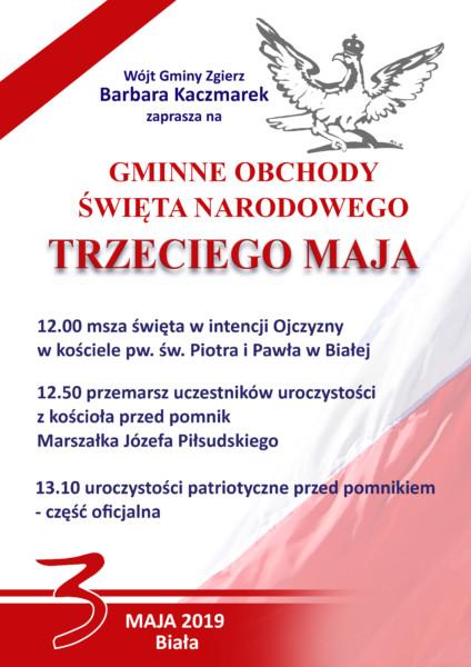 Plakat z zaproszeniem na obchody święta trzeciego maja